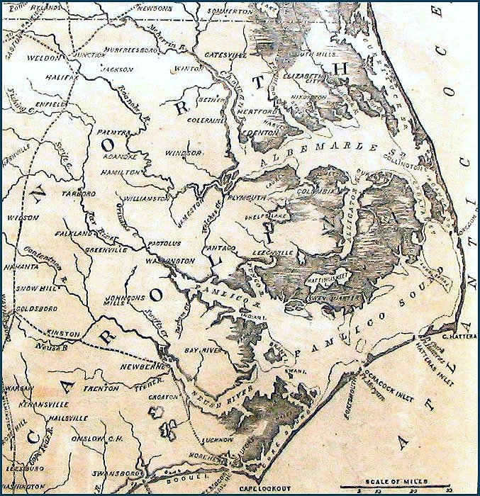 Civil War Map Of Coastal North Carolina - Map of north carolina coast