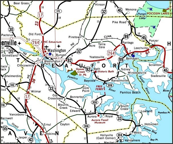 2006 Road Map of Beaufort Co., NC