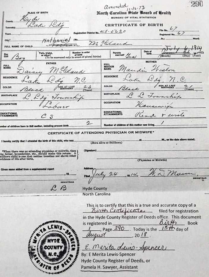 Hyde Co Nc Death Certificate Index Mcclaud Mcwilliams