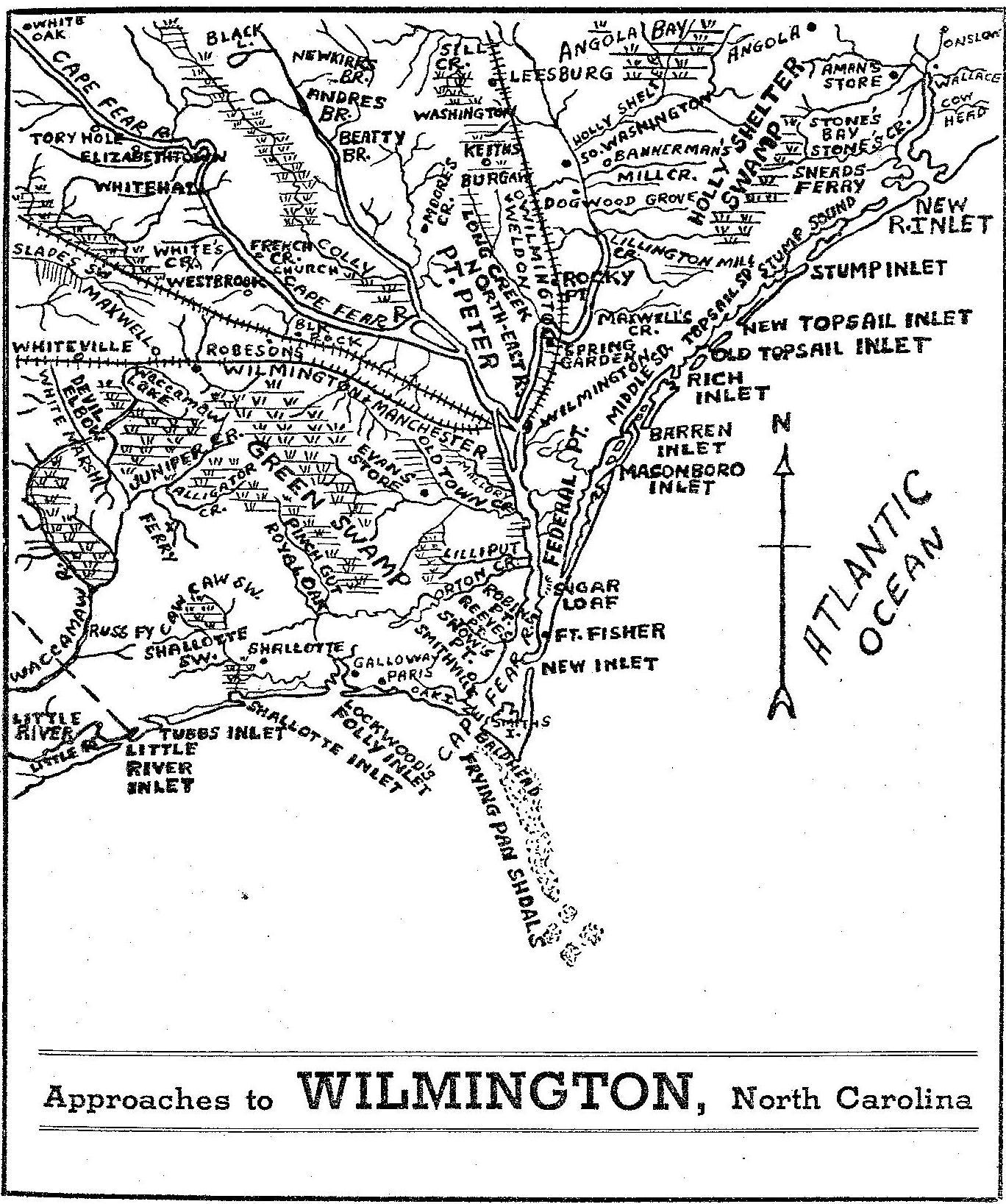 North carolina county map early map shows approaches to wilmington nc publicscrutiny Gallery