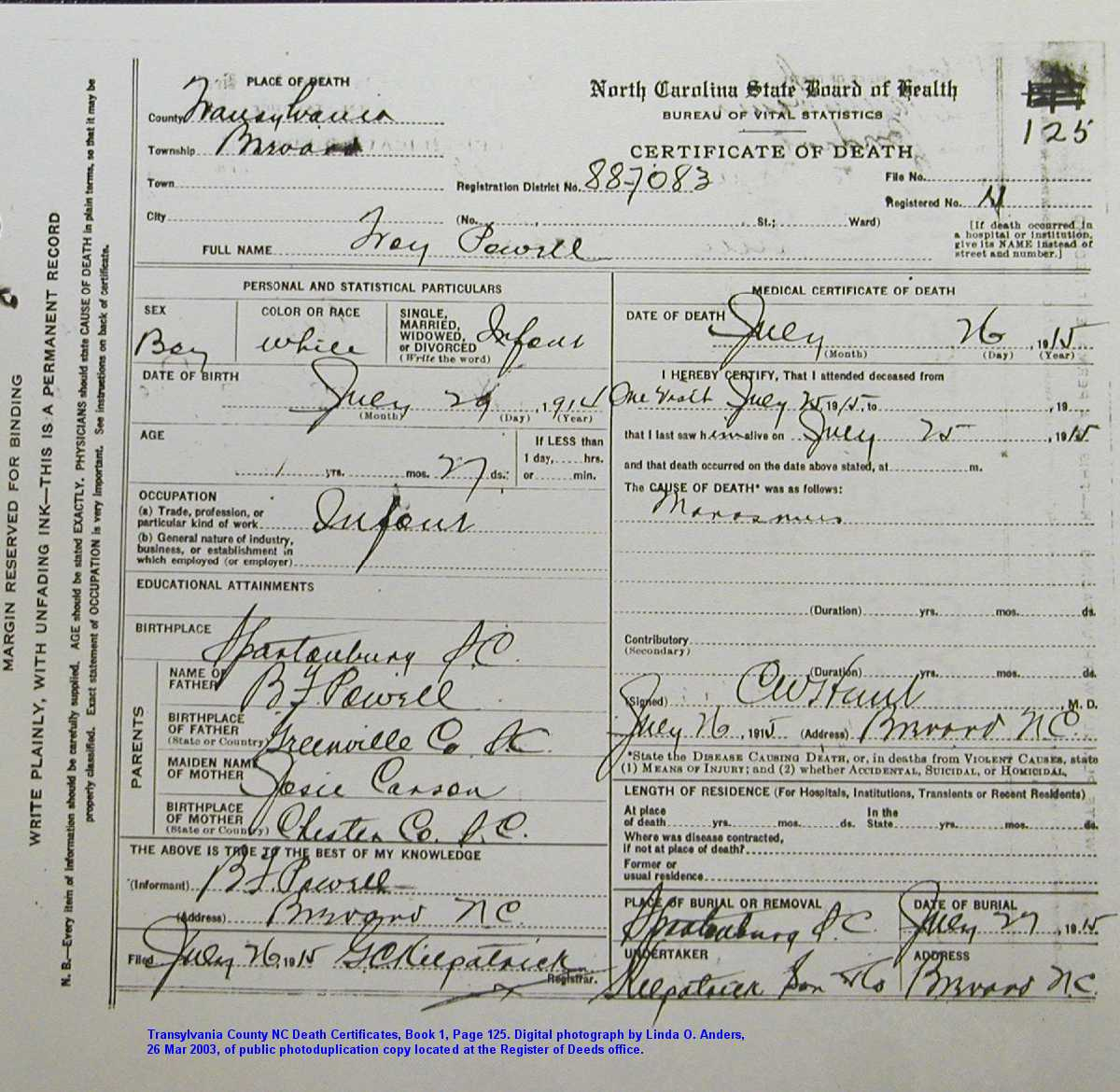 1915 death certificates book 1 part 2 brevard township aiddatafo Choice Image