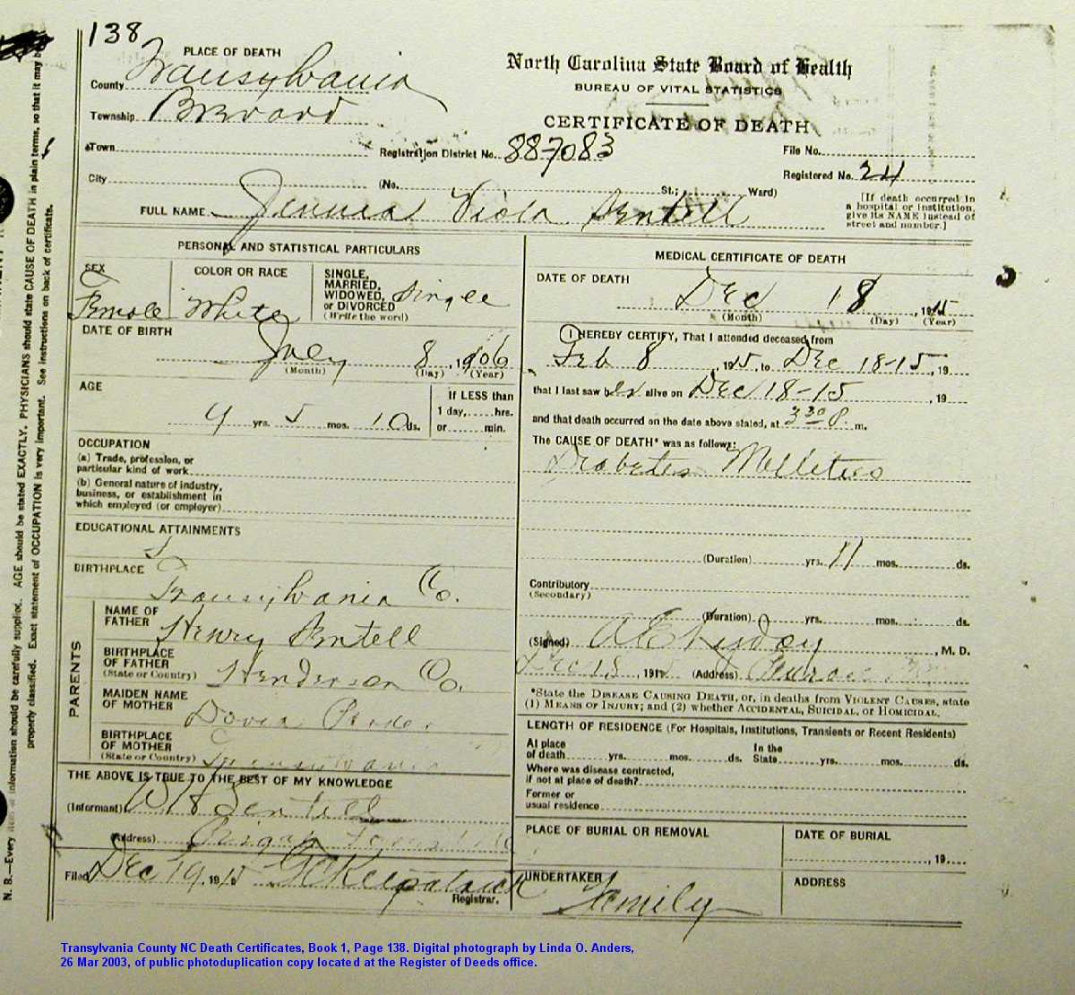 1915 death certificates book 1 part 2 brevard township aiddatafo Images
