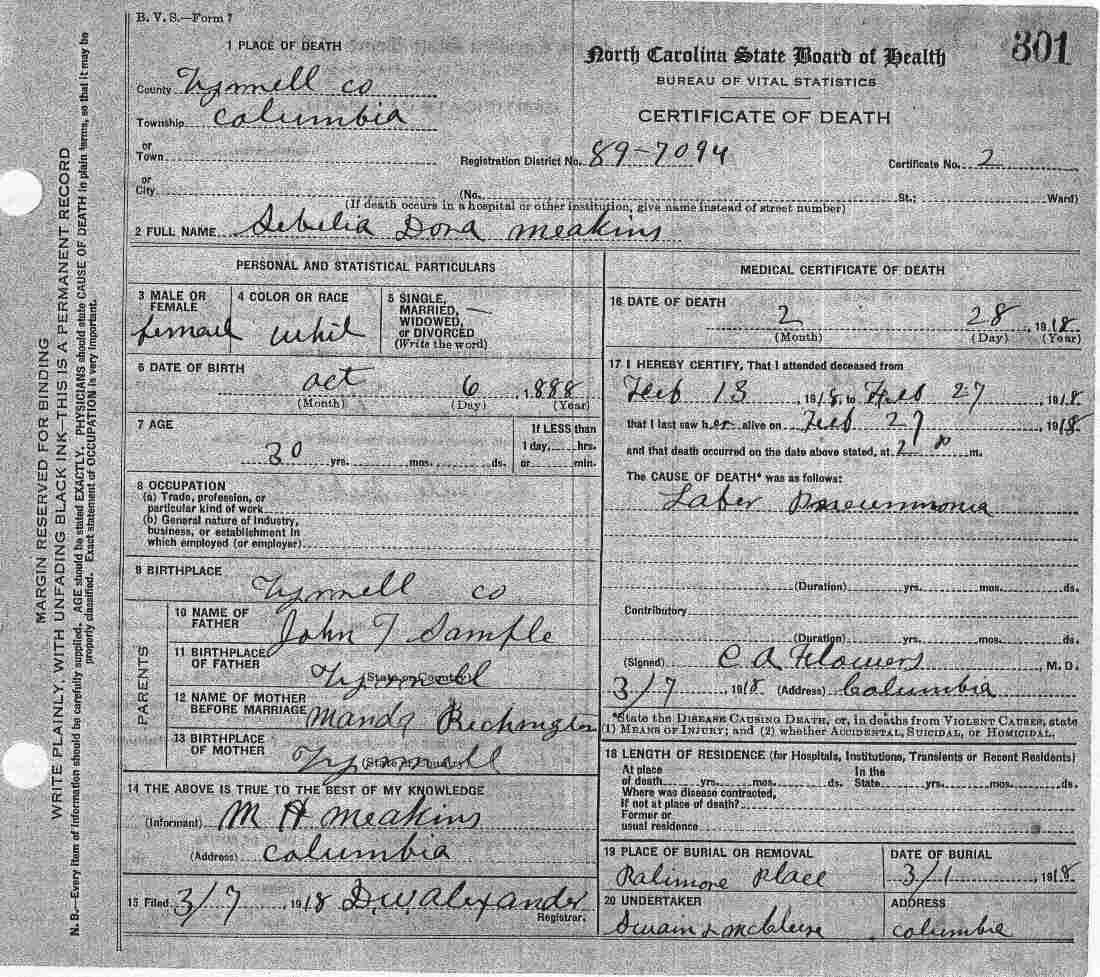 Tyrrell county death certificates sample john t aiddatafo Images