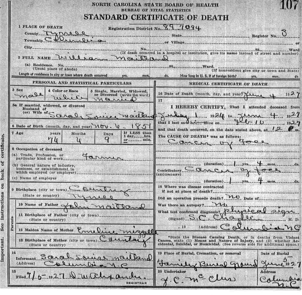 Tyrrell county death certificates maitland xflitez Choice Image