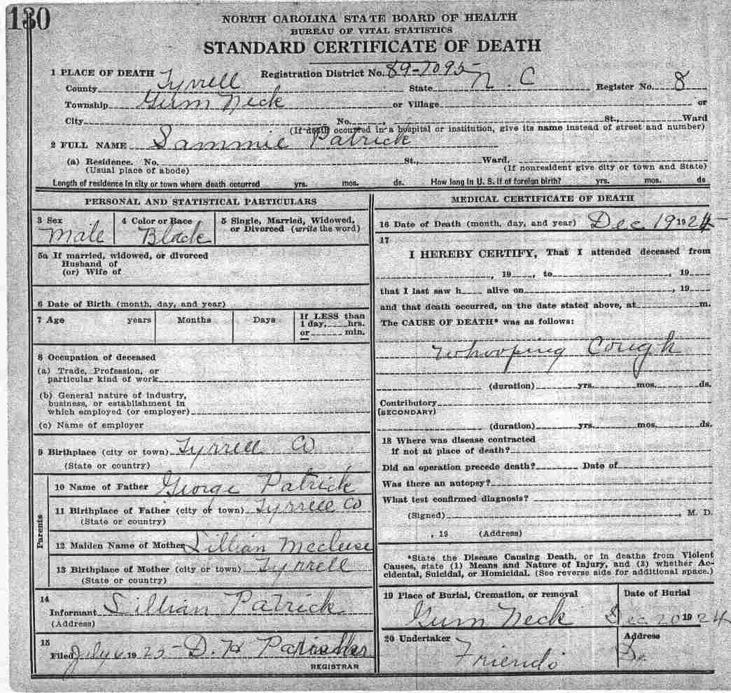 Tyrrell county death certificates patrick george xflitez Choice Image