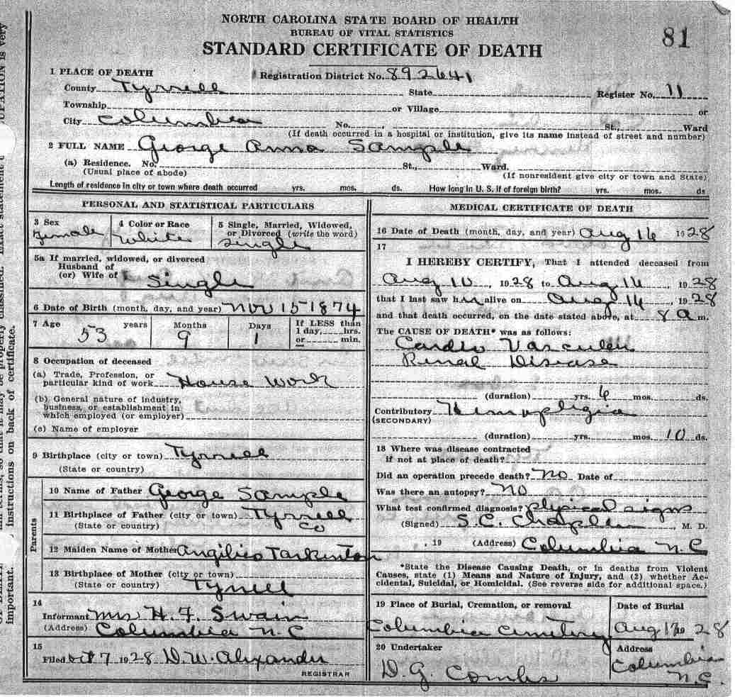 Tyrrell county death certificates sample angilico xflitez Choice Image