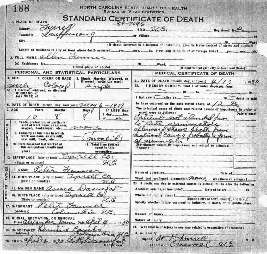 Tyrrell County Death Certificates
