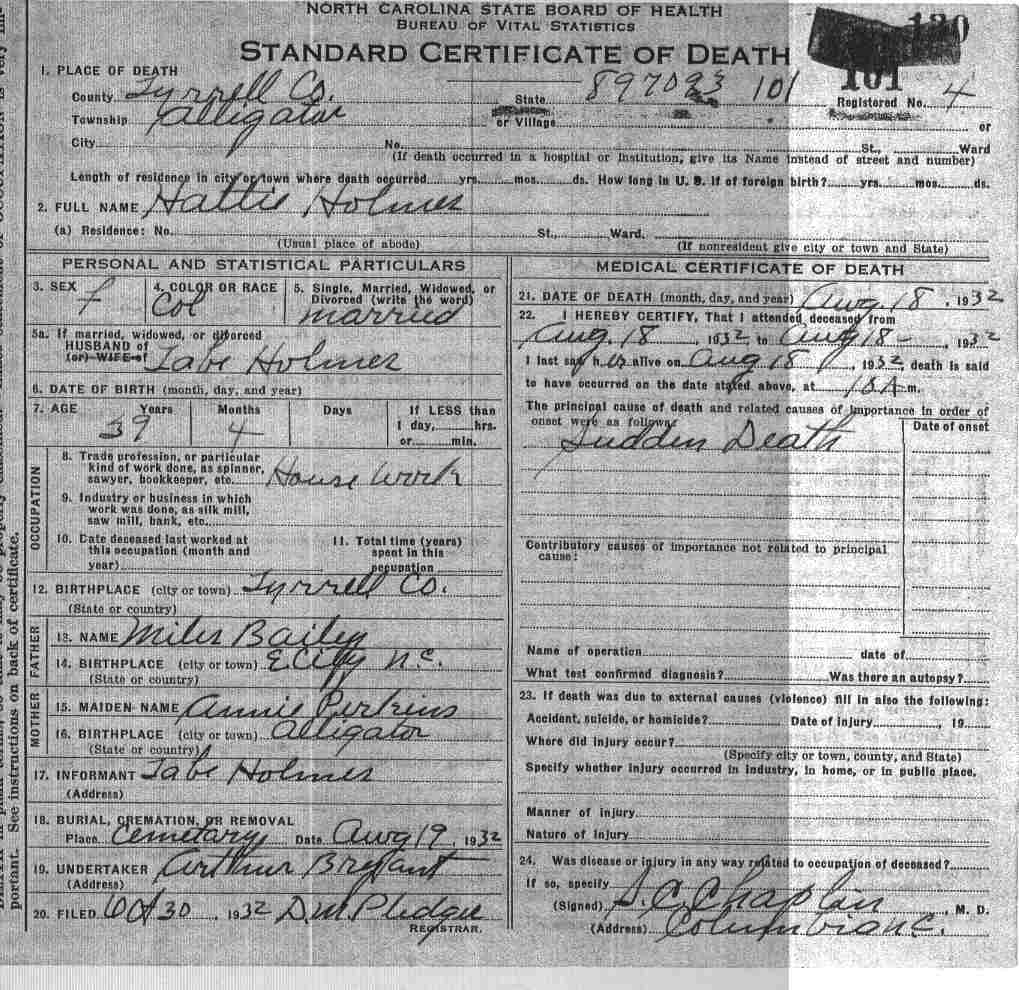 Tyrrell county death certificates bailey annie xflitez Choice Image