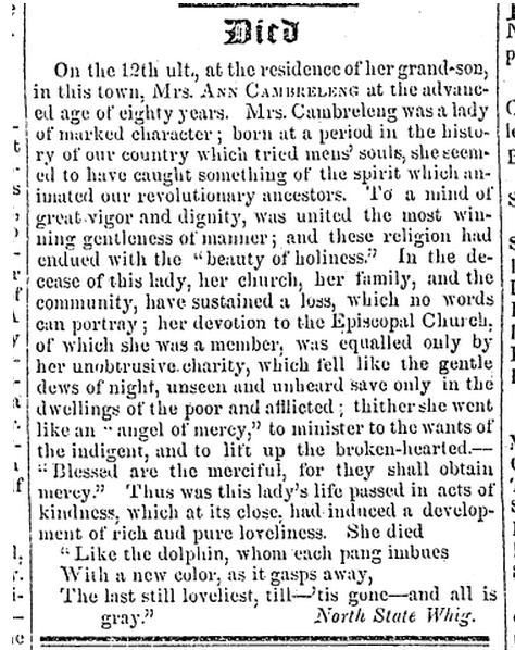 Obituary of Ann Cambreleng